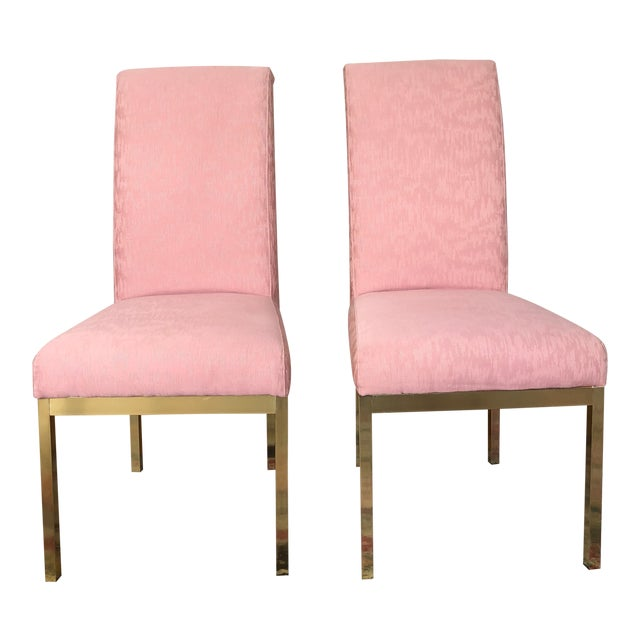 Hollywood Regency Pink Upholstered Dining Chairs - Set of 4 For Sale