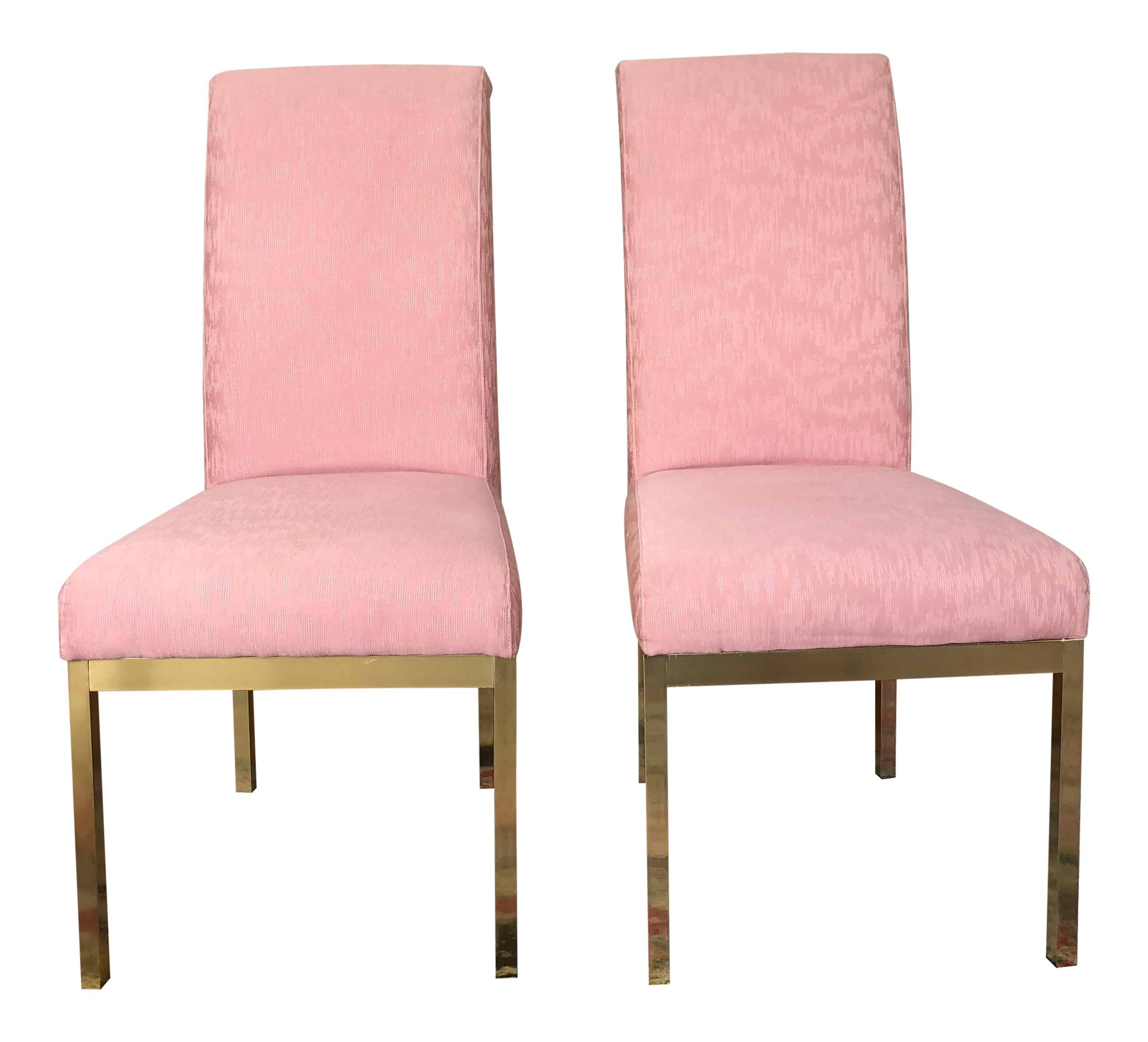 Hollywood Regency Pink Upholstered Dining Chairs   Set Of 4