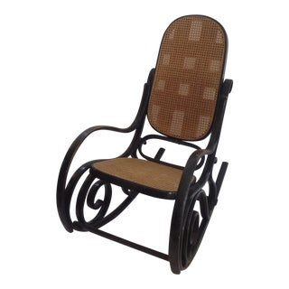 Black Cane Bent Wood Rocking Chair