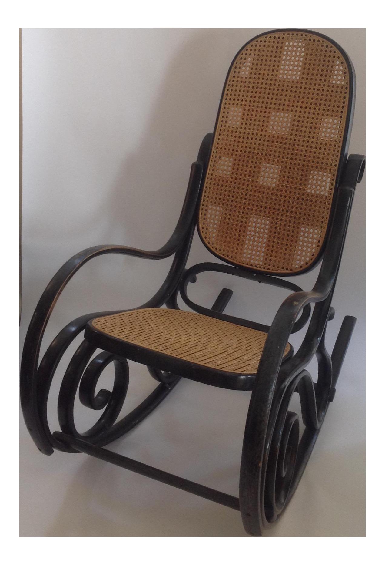 Black Cane Bent Wood Rocking Chair