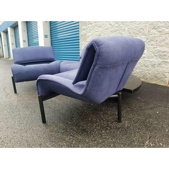 Vintage Mid Century Modern Vico Magistretti for Cassina Blue Three Seat Veranda Sofa- 3 Pieces For Sale In Chicago - Image 6 of 11