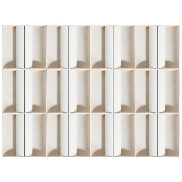 Lacquer Architectural Set of 12 White Metal Wall-Lights, Ceiling-Lights, France, 1970s For Sale - Image 7 of 7