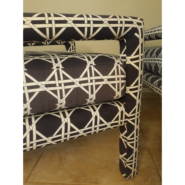 Black Mid Century Parsons Op Art Crossed Rope Design Black & White Upholstered Club Chairs - a Pair For Sale - Image 8 of 12