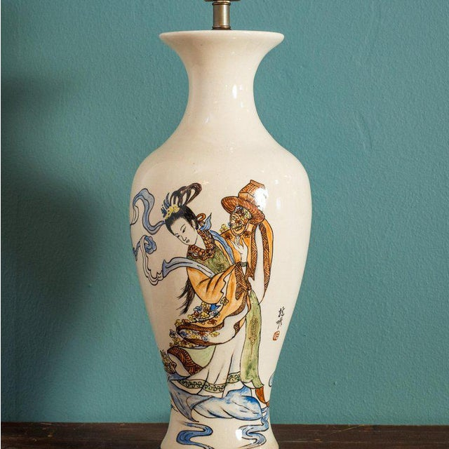 Asian Antique Chinese Export Vase Lamp For Sale - Image 3 of 6
