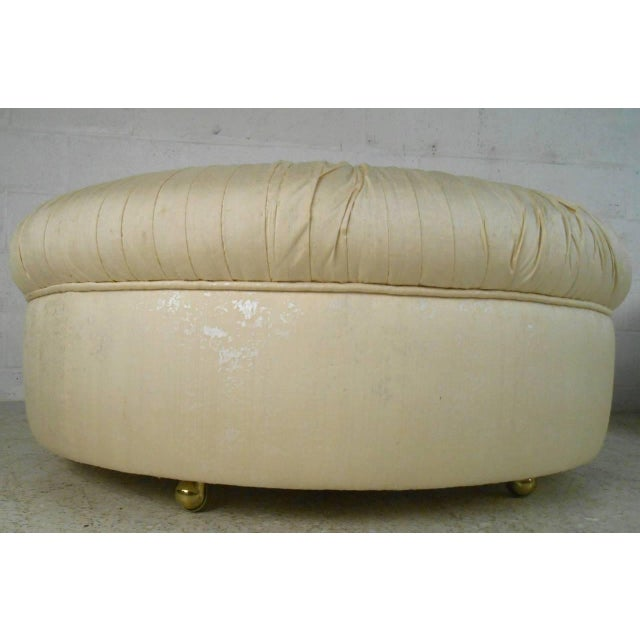 1960s Mid-Century Modern Tufted Silk Ottomans- a Pair For Sale - Image 5 of 9