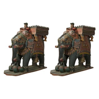 Monumental Pair of Carved Wood Indian Elephant Planters For Sale