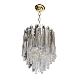 Mid-Century Modernist Cascading Camer Chandelier with Polished Brass Fittings
