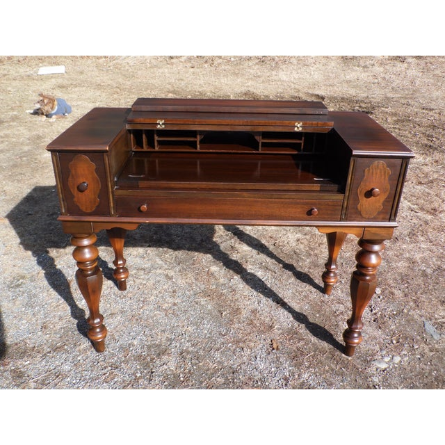 Antique Walnut Empire Flip Top Writing Spinet Desk Sofa Table For Sale - Image 12 of 12