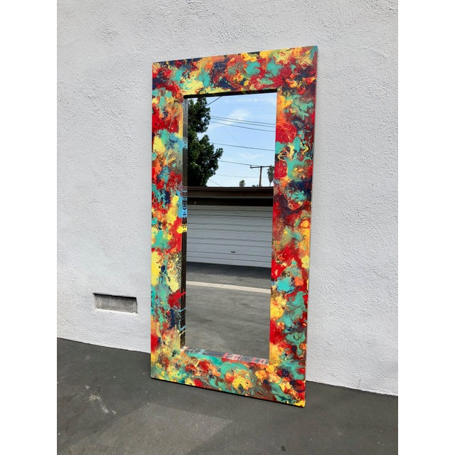 """Abstract Freeform Painted Custom Full Length Mirror - 37""""X 75"""" For Sale - Image 9 of 11"""