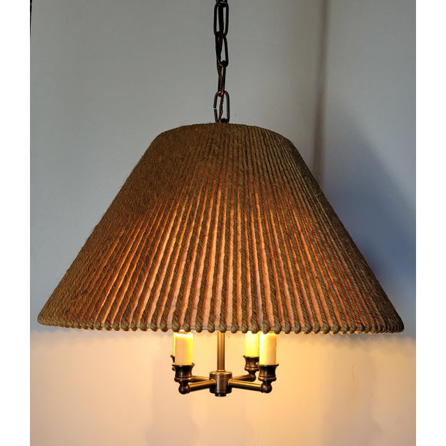 Vintage String Shade on Newer Four Light Chandelier in Oil Rubbed Bronze Finish. Wiring is New. Candelabra Sockets have...