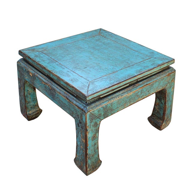 This is a handmade Chinese oriental curved legs design square coffee table. The surface is finished with distressed rustic...