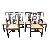 Image of 19th Century Antique English Mahogany Chippendale Style Dining Chairs-Set of 6 For Sale