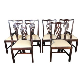 19th Century Antique English Mahogany Chippendale Style Dining Chairs-Set of 6 For Sale