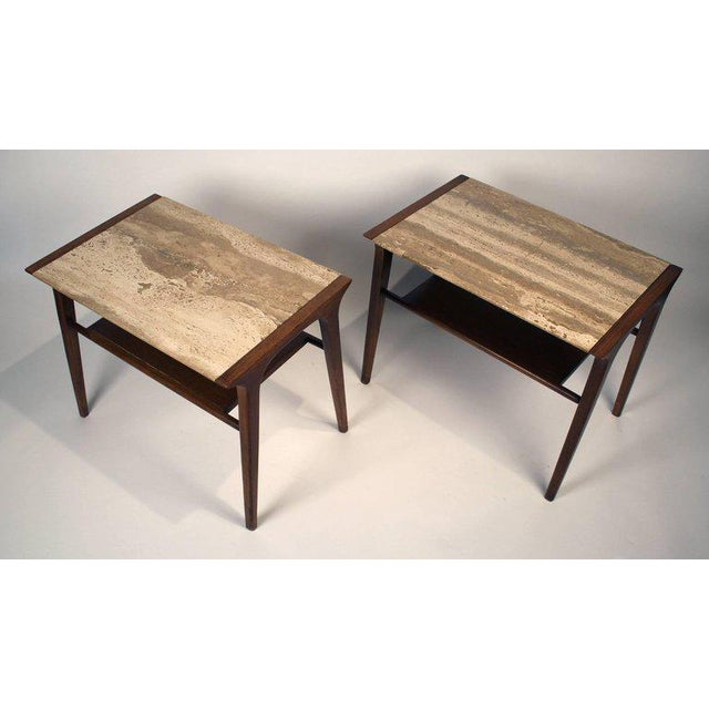 John Van Koert Walnut and Travertine Side Tables for Drexel For Sale In Dallas - Image 6 of 10