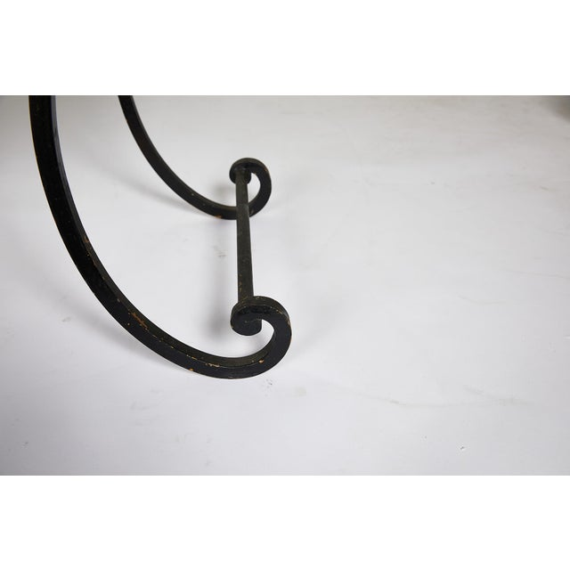 Black Hollywood Regency Scrolling Iron Bench in Jim Thompson Fabric For Sale - Image 8 of 12