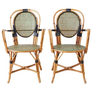 Pair of French Maison Gatti Rattan Cafe Bistro Chairs