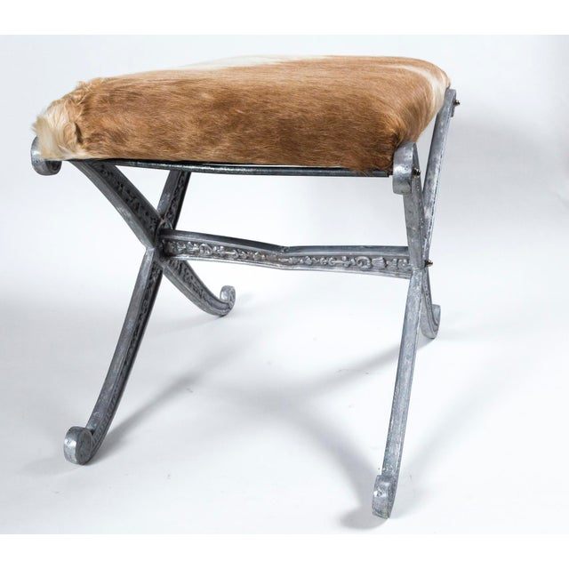 Silver 20th Century Neoclassic X-Frame Upholstered Benches - a Pair For Sale - Image 8 of 12