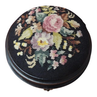 19th Century Floral Tapestry English Round Footstool For Sale