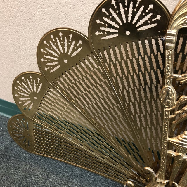Mid 20th Century Art Deco Brass Folding Fire Screen For Sale - Image 5 of 13
