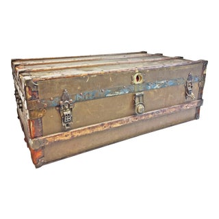 Vintage Industrial Brown Wood Steamer Trunk For Sale