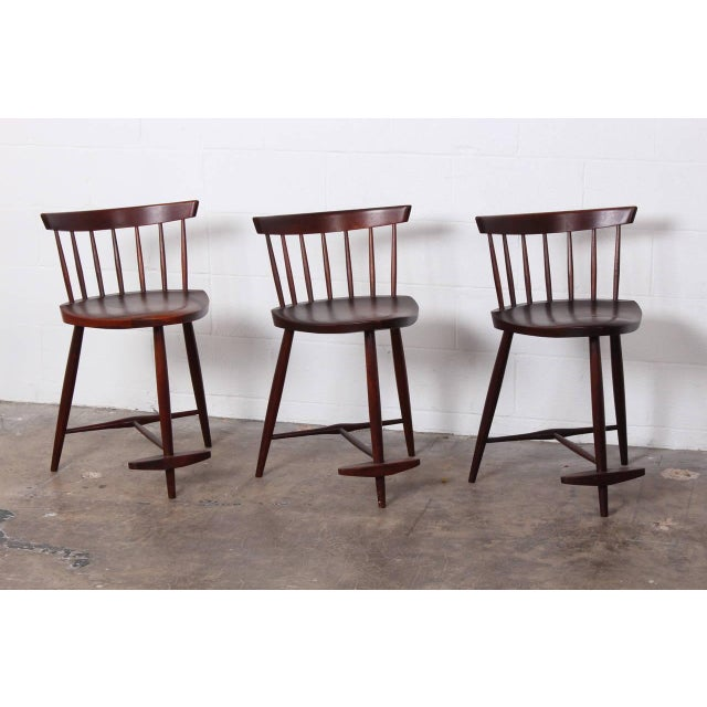 George Nakashima Set of Three Mira Barstools by George Nakashima For Sale - Image 4 of 10