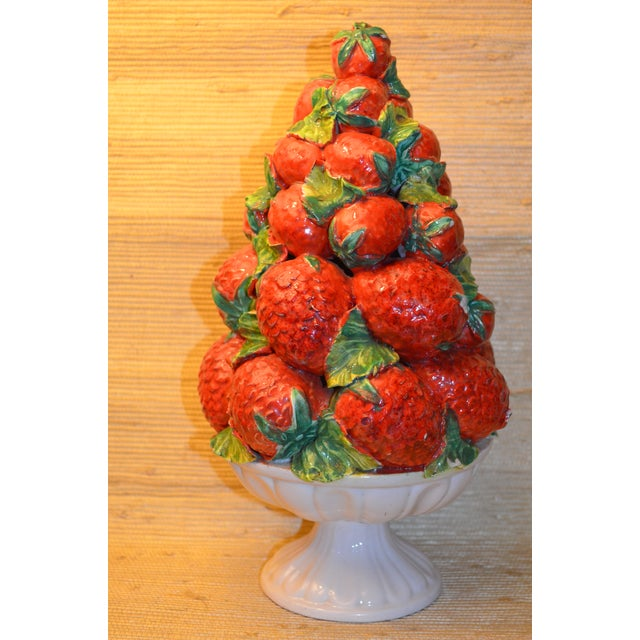 This is a beautiful majolica strawberry topiary. It is mid-century and hand painted in the majolica style in Italy. This...