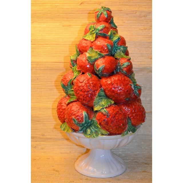 Mid-Century Italian Majolica Strawberry Topiary - Image 2 of 5