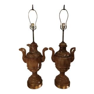 Vintage Marlboro Sienna Alabaster Marble Urn Lamps - a Pair For Sale