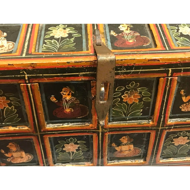 1900 - 1909 Vintage Folk Art Indian Hand Painted Box For Sale - Image 5 of 10