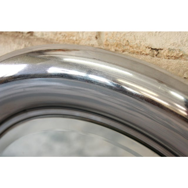 Italian 1970s Reggiani Italian Circular Chrome Mirror For Sale - Image 3 of 6