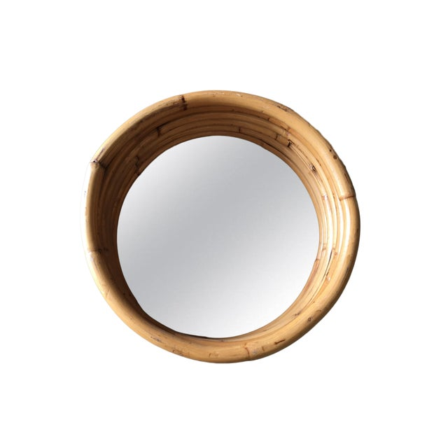 """1950s Six-Strand Round Small 21"""" Decorative Porthole Rattan Mirror For Sale - Image 5 of 6"""