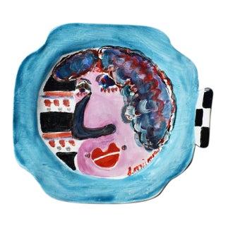 Colorful Modernist Ceramic Hanging Portrait Plate After Jean Cocteau For Sale