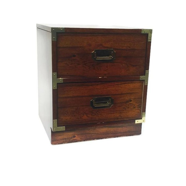 Vintage Bernhardt Campaign Nightstand End Table - Image 2 of 7