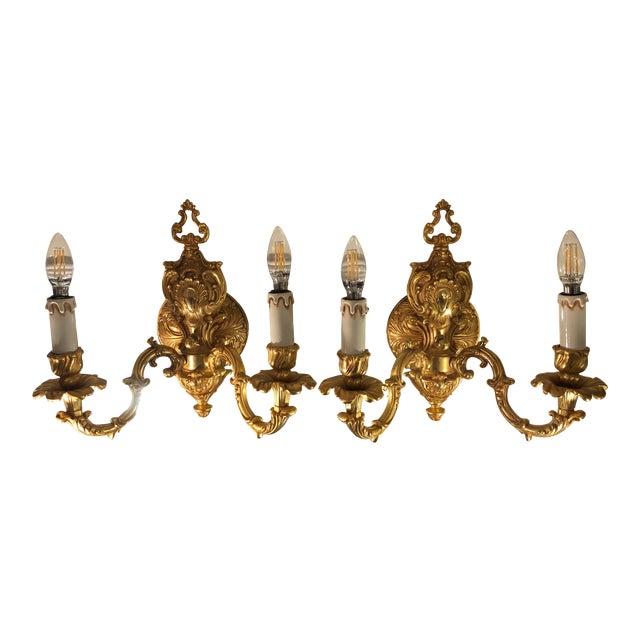 24k Gold Gilt Bronze Louis XV Style Wall Sconces Naurelle - a Pair For Sale