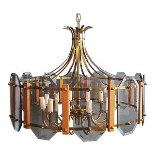 1970s Teak Accented Brass & Glass Chandelier For Sale