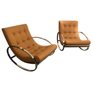 Pair of Rocking Lounge Chair Metal Leather by Renato Zevi, Italy, 1970s For Sale
