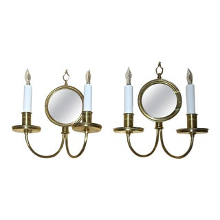 Adam Style Brass Convex Mirror Wall Sconces - A Pair For Sale