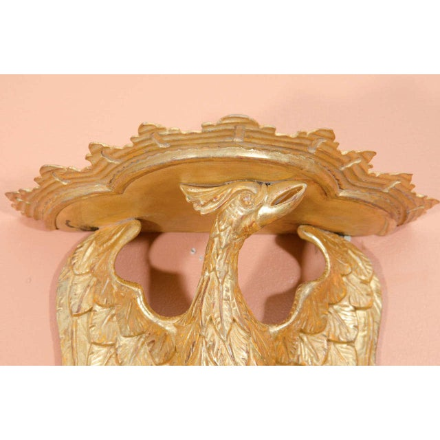 Mid 20th Century Pair of Rococo Giltwood Phoenix Brackets For Sale - Image 5 of 8