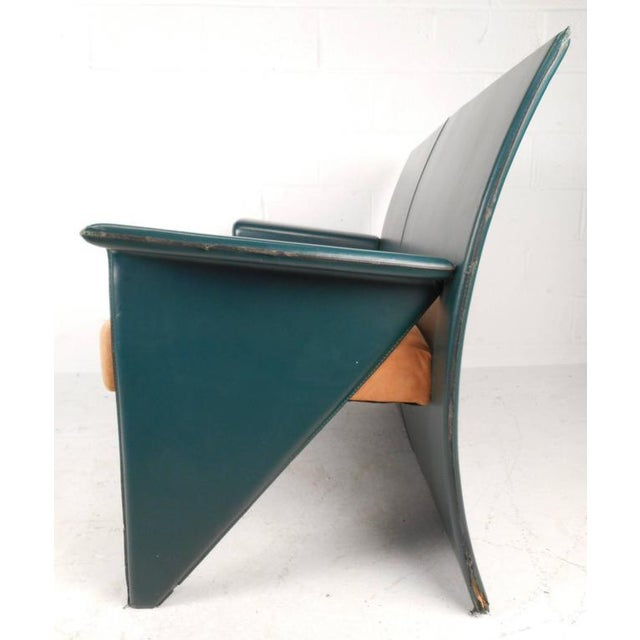 Mid-Century Modern Italian Leather Settee For Sale - Image 4 of 7