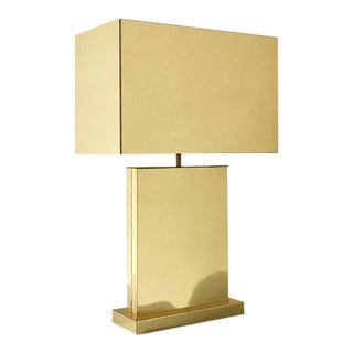 Curtis Jere Designed Brass Table Lamp With Metal Shade 1976 For Sale