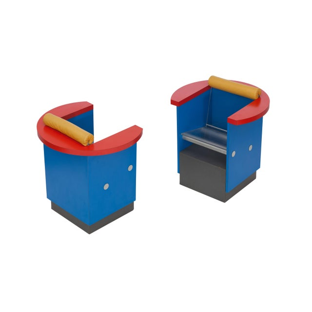 Aluminum Unusual Pair of Blue, Red and Yellow Memphis Chairs For Sale - Image 7 of 10