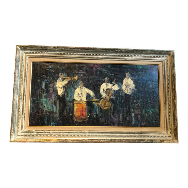 Four Piece Jazz Players Oil Painting For Sale