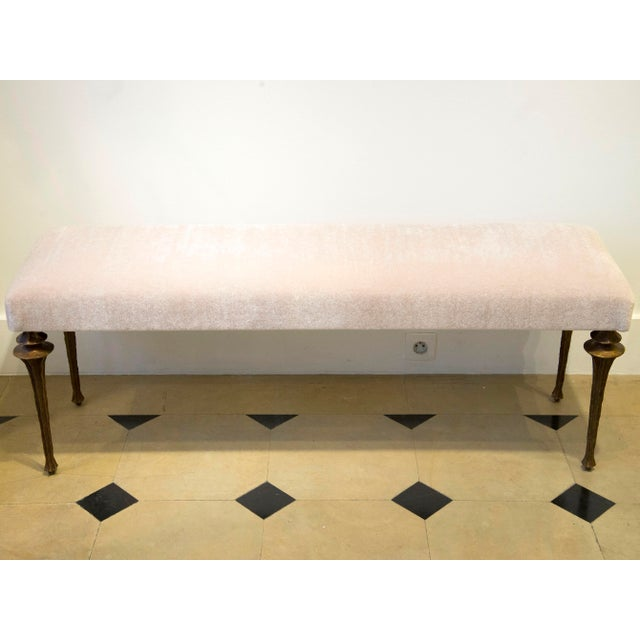 Marc Bankowsky - Large Bench in Bronze and Velvet Mohair For Sale - Image 4 of 7