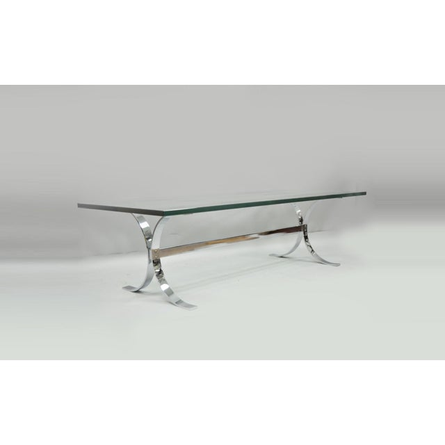 Mid-Century Modern Chrome Butterfly Base Glass Top Coffee Table Baughman Style For Sale - Image 12 of 12