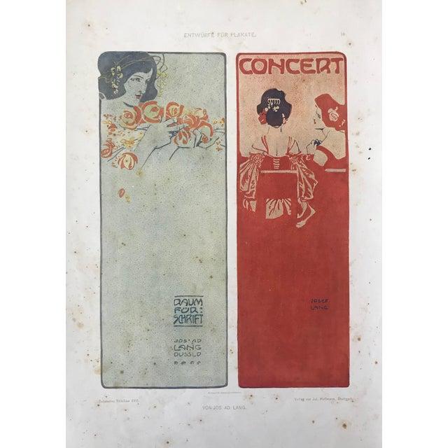 Red 1906 Original German Art Nouveau Poster, Decorator Print, #18, Art Deco Fashion For Sale - Image 8 of 8