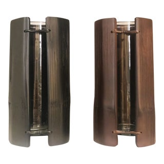 Bamboo Cylinder Vases - a Pair For Sale