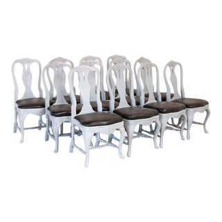 Antique Set of 12 Swedish Gustavian Gray Painted Dining Chairs For Sale