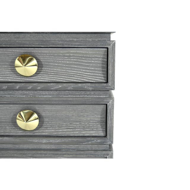Brass Stacked End Tables in Limed Oak For Sale - Image 7 of 12