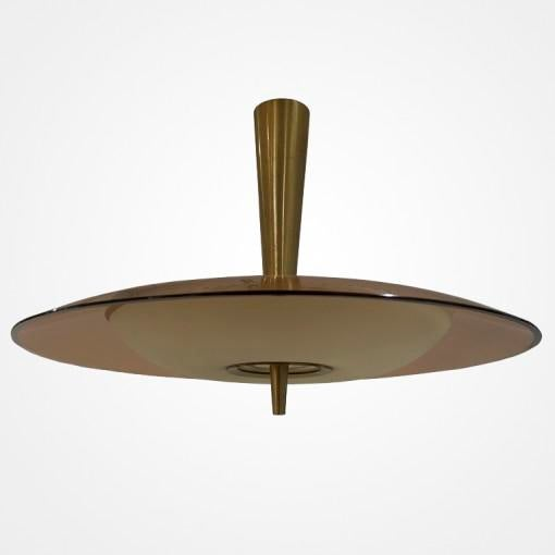 Fontana Arte chandelier rose disc with satin finished diffuser. Model 1462A. Documented in Fontana Arte 6, manufacturers...