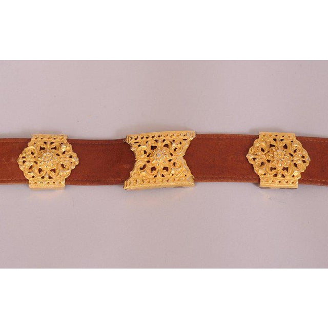 Roberta DI Camerino for Saks Brown Leather Belt Golden Buckle and Slides For Sale - Image 4 of 6